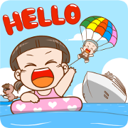 NomYen & HuaKrien Hello Summer Sticker for LINE & WhatsApp | ZIP: GIF & PNG