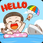 NomYen & HuaKrien Hello Summer Sticker for LINE & WhatsApp | ZIP: GIF & PNG