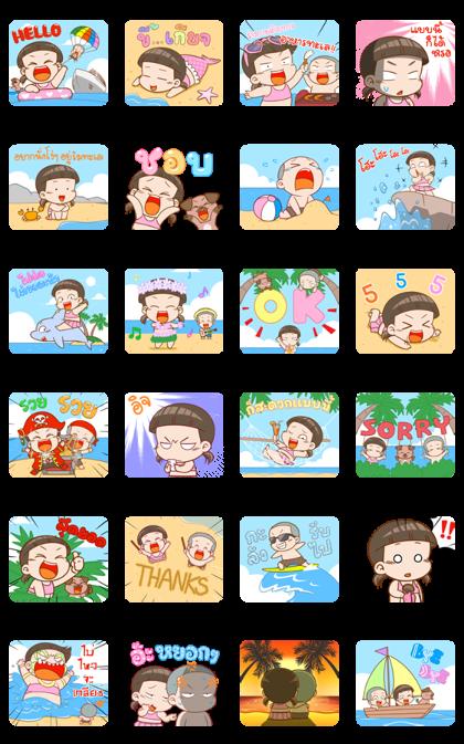 NomYen & HuaKrien Hello Summer Line Sticker GIF & PNG Pack: Animated & Transparent No Background | WhatsApp Sticker