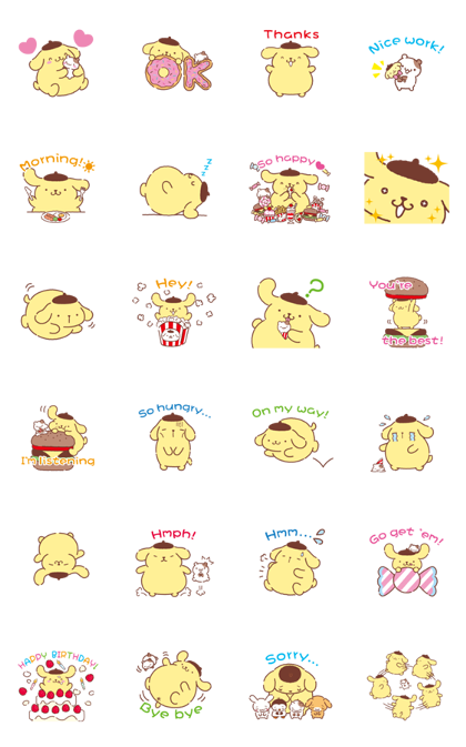 Pompompurin's Chowtime Line Sticker GIF & PNG Pack: Animated & Transparent No Background | WhatsApp Sticker