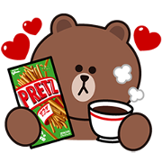 Pretz × BROWN & FRIENDS Sticker for LINE & WhatsApp | ZIP: GIF & PNG