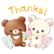 Rilakkuma:Korilakkuma Happy Ice cream Sticker for LINE & WhatsApp | ZIP: GIF & PNG