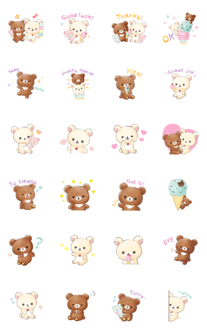Rilakkuma: Korilakkuma Happy Ice cream Line Sticker GIF & PNG Pack: Animated & Transparent No Background | WhatsApp Sticker