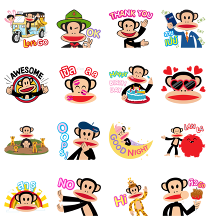 UOB X Paul Frank Line Sticker GIF & PNG Pack: Animated & Transparent No Background | WhatsApp Sticker