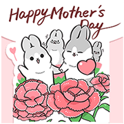[BIG] Machiko Rabbit Thankful Stickers Sticker for LINE & WhatsApp | ZIP: GIF & PNG