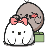 Black and White Chicken Big Love Sticker for LINE & WhatsApp | ZIP: GIF & PNG