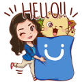 CLARA & Brown Cat Sticker for LINE & WhatsApp | ZIP: GIF & PNG
