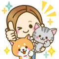 DOG'S HEART CAT'S HEART×OTONA-GIRL Sticker for LINE & WhatsApp | ZIP: GIF & PNG