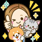 DOG'S HEART CAT'S HEART×OTONA-GIRL Sticker for LINE & WhatsApp | ZIP: GIF & PNG