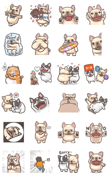 French Bulldog PIGU: Pop-Up Stickers Line Sticker GIF & PNG Pack: Animated & Transparent No Background | WhatsApp Sticker