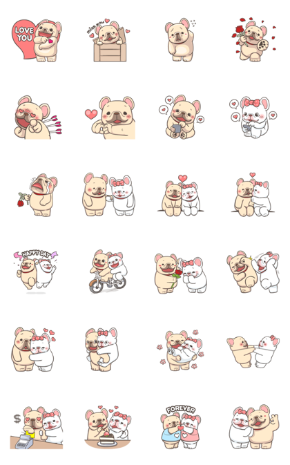 French Bulldog-PIGU IX Animated Stickers Line Sticker GIF & PNG Pack: Animated & Transparent No Background | WhatsApp Sticker