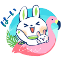 L'OCCITANE×Usa-tan tropical ver. Sticker for LINE & WhatsApp | ZIP: GIF & PNG