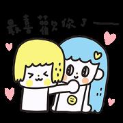 MORITA 100% LOVE LOVE (Couple) Sticker for LINE & WhatsApp   ZIP: GIF & PNG