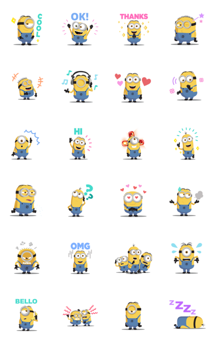 Minions: Cute Animated Stickers Line Sticker GIF & PNG Pack: Animated & Transparent No Background | WhatsApp Sticker