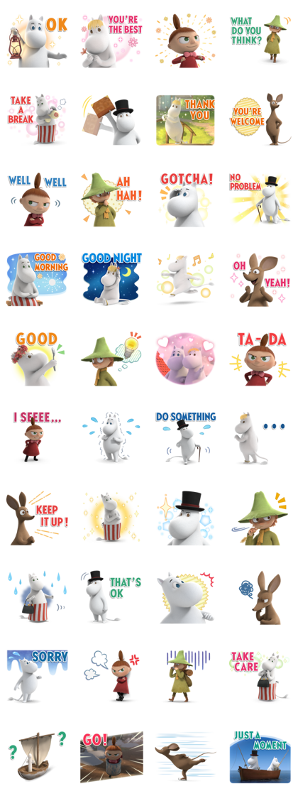 Moominvalley Line Sticker GIF & PNG Pack: Animated & Transparent No Background | WhatsApp Sticker