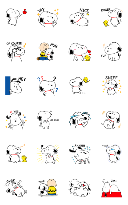 Snoopy Onomatopoeia Stickers Line Sticker GIF & PNG Pack: Animated & Transparent No Background | WhatsApp Sticker