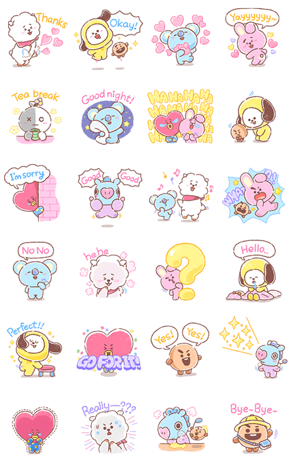 UNIVERSTAR BT21: Everyday Moments Line Sticker GIF & PNG Pack: Animated & Transparent No Background | WhatsApp Sticker