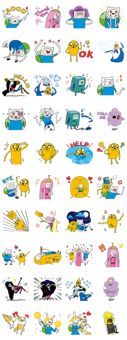 Adventure Time (Paid) Line Sticker GIF & PNG Pack: Animated & Transparent No Background | WhatsApp Sticker