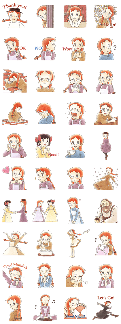 Anne of Green Gables Line Sticker GIF & PNG Pack: Animated & Transparent No Background | WhatsApp Sticker