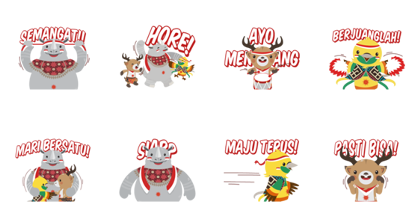 Asian Games: Indonesian Independence Day Line Sticker GIF & PNG Pack: Animated & Transparent No Background | WhatsApp Sticker