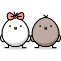 Black and white chicken Sticker for LINE & WhatsApp | ZIP: GIF & PNG