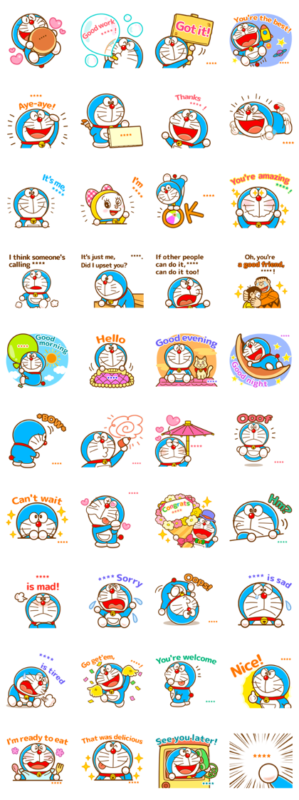 Doraemon Custom Stickers Line Sticker GIF & PNG Pack: Animated & Transparent No Background | WhatsApp Sticker