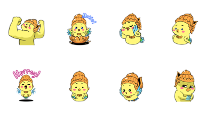 Garu the Baby Garuda Line Sticker GIF & PNG Pack: Animated & Transparent No Background | WhatsApp Sticker