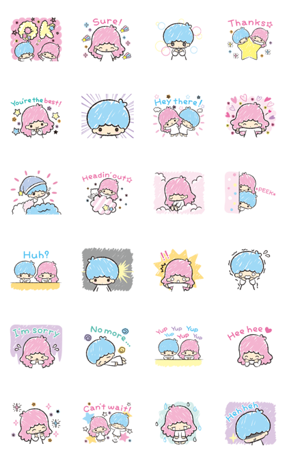 Little Twin Stars: Hand-Drawn Stickers Line Sticker GIF & PNG Pack: Animated & Transparent No Background | WhatsApp Sticker