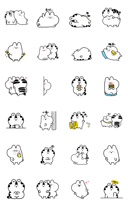 Mini Wanga & Huhu Line Sticker GIF & PNG Pack: Animated & Transparent No Background | WhatsApp Sticker