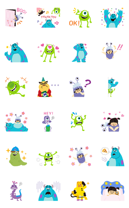Monsters, Inc. (Cute) Line Sticker GIF & PNG Pack: Animated & Transparent No Background | WhatsApp Sticker