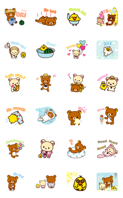 Rilakkuma: Enjoy Summer Line Sticker GIF & PNG Pack: Animated & Transparent No Background | WhatsApp Sticker