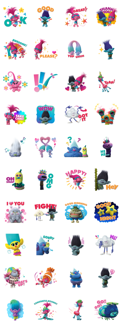 Trolls Stickers Line Sticker GIF & PNG Pack: Animated & Transparent No Background | WhatsApp Sticker