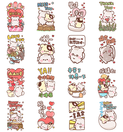 [BIG] Sunglin & Chini Couple Stickers Line Sticker GIF & PNG Pack: Animated & Transparent No Background | WhatsApp Sticker