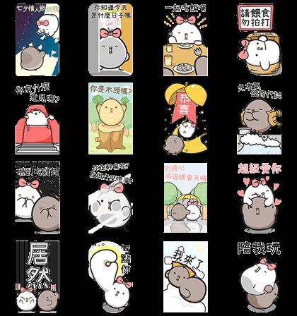 [BIG] Black & White Chicken Couple Stickers Line Sticker GIF & PNG Pack: Animated & Transparent No Background | WhatsApp Sticker