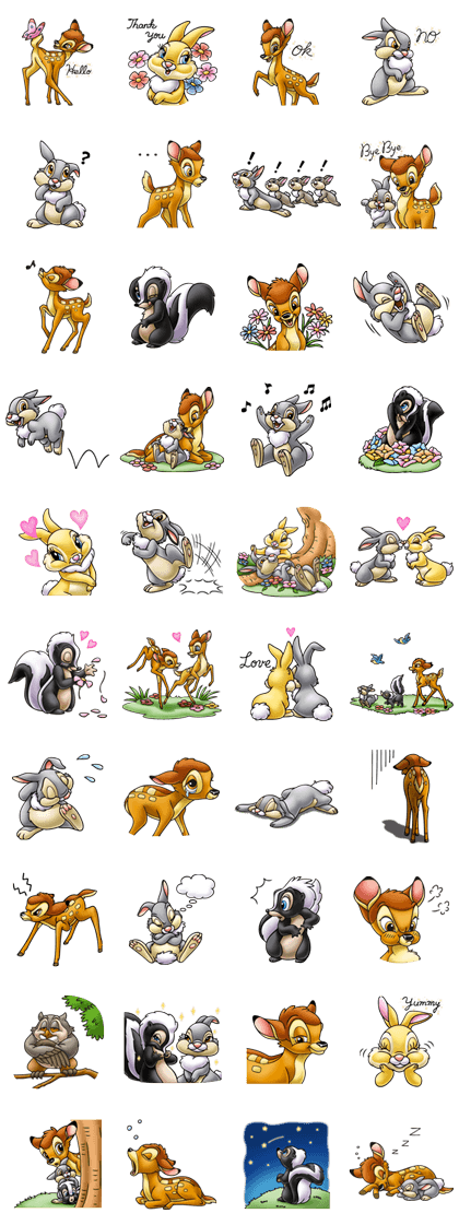 Bambi Line Sticker GIF & PNG Pack: Animated & Transparent No Background   WhatsApp Sticker
