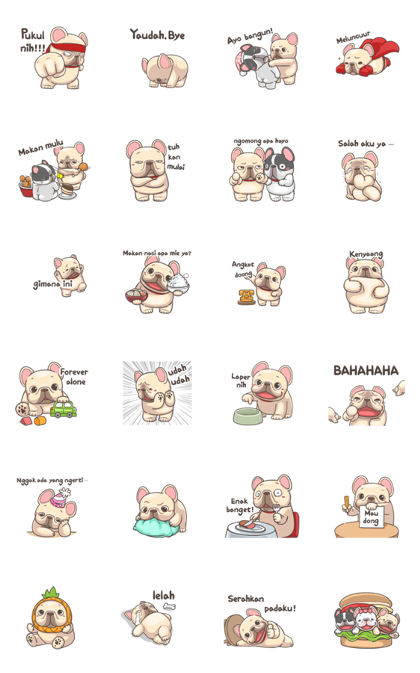 French Bulldog PIGU- Sticker III Line Sticker GIF & PNG Pack: Animated & Transparent No Background | WhatsApp Sticker