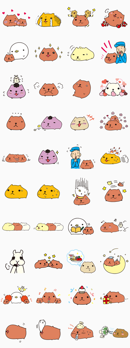 KAPIBARA-SAN & Friends Line Sticker GIF & PNG Pack: Animated & Transparent No Background | WhatsApp Sticker