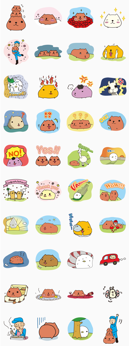 KAPIBARA-SAN Line Sticker GIF & PNG Pack: Animated & Transparent No Background | WhatsApp Sticker