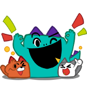 Kozy, Tabby, and Ceela: Fun Never Ends! Sticker for LINE & WhatsApp | ZIP: GIF & PNG