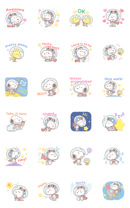 Lovely SNOOPY and Friends: Astronauts Line Sticker GIF & PNG Pack: Animated & Transparent No Background | WhatsApp Sticker