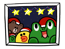 Merry Christmas from LINE Friends Sticker for LINE & WhatsApp   ZIP: GIF & PNG