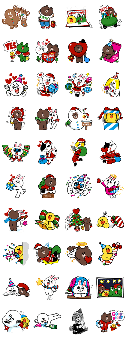 Merry Christmas from LINE Friends Line Sticker GIF & PNG Pack: Animated & Transparent No Background | WhatsApp Sticker