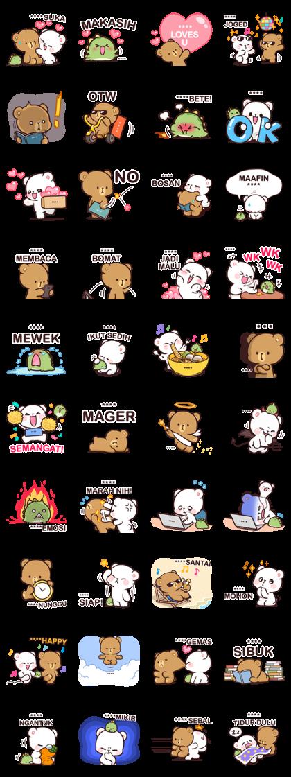 Milk & Mocha: Custom Stickers Line Sticker GIF & PNG Pack: Animated & Transparent No Background | WhatsApp Sticker