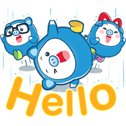 PIGGY GANG: Happy Rainy Day! Sticker for LINE & WhatsApp | ZIP: GIF & PNG