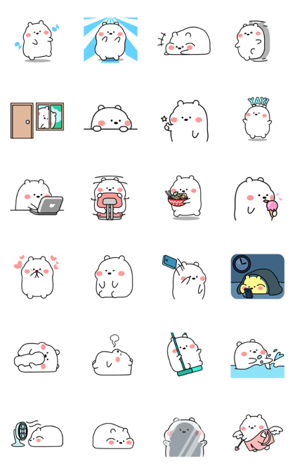 Plo: Chubby White Bear Line Sticker GIF & PNG Pack: Animated & Transparent No Background | WhatsApp Sticker