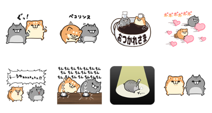Plump Dog & Cat × livedoor NEWS Line Sticker GIF & PNG Pack: Animated & Transparent No Background | WhatsApp Sticker