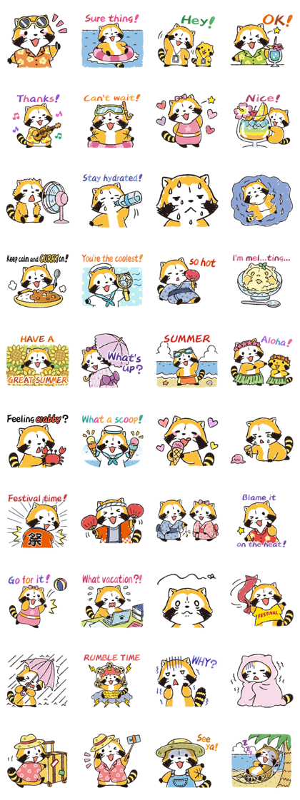 Rascal's Summer Vacation Line Sticker GIF & PNG Pack: Animated & Transparent No Background | WhatsApp Sticker