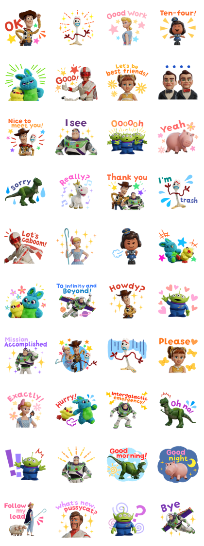 Toy Story 4 Line Sticker GIF & PNG Pack: Animated & Transparent No Background | WhatsApp Sticker