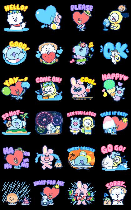 UNIVERSTAR BT21: Summer Time Line Sticker GIF & PNG Pack: Animated & Transparent No Background | WhatsApp Sticker
