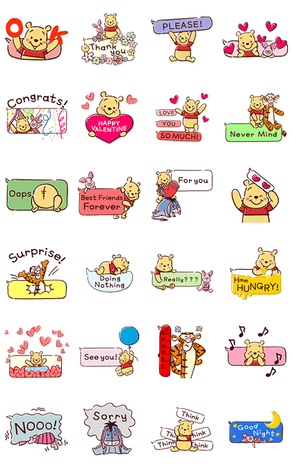 Animated Winnie the Pooh Speech Balloons Line Sticker GIF & PNG Pack: Animated & Transparent No Background | WhatsApp Sticker